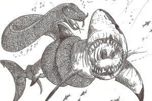 史前巨兽古杯蛇,体长10米能捕食鲨鱼的巨型海蛇