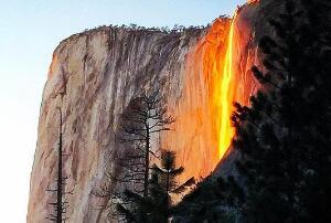 揭秘美国自然奇观之火瀑布,实则特定角度产生的光学效果